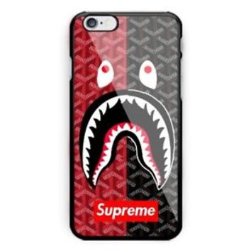 Best Bape Shark Supreme Black Red iPhone 7 and 7+ Hard Plastic Cover Case