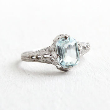 Antique 10k White Gold Art Deco Simulated Aquamarine Ostby & Barton Ring - Size 5 Filigree 1920s Blue Glass Fine OB Jewelry