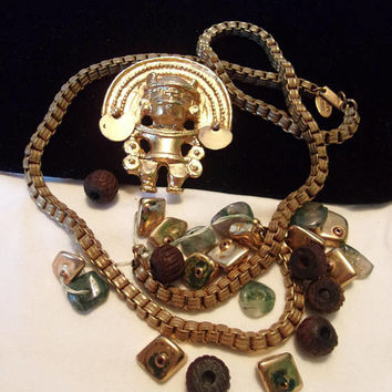 MIRIAM HASKELL Geometric Aztec Warrior Necklace Stone Bead Pendant Gold Plate Chain REPAIR