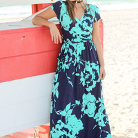 Navy and Teal Floral Wrap Maxi Dress