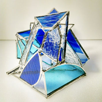 Stained Glass Sculpture - Paperweight - Blue and Clear - Abstract Geometric - Desk Accessory - Modern Art - Contemporary Art - Glass Art