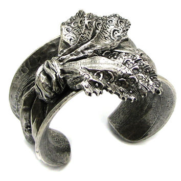 CHRISTIAN LACROIX, rare vintage cuff made of silver-tone metal with patina