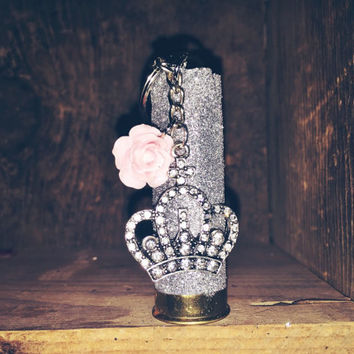 Silver Glitter 12 Gauge Shotgun Shell with Jeweles Crown and Pink Flower Charm
