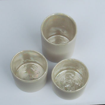 Set of 3 Pearly Porcelain Tea Light Holders Great Wedding Gifts