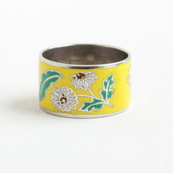 Vintage Sterling Silver Enamel Flower Eternity Ring - Size 5 Colorful Yellow & White Thai Cigar Band Floral Jewelry