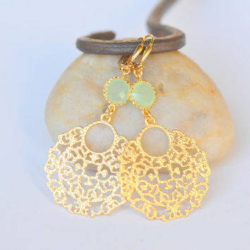 Mint and Gold Circle Unique Jewel Dangle Earrings.  Mint Gold Earrings.  Gift for Her. Dangle Earrings. Gold Earrings.