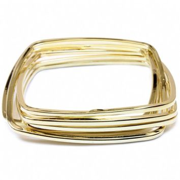 Bea's Gold Square Bangle Set