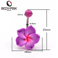 Belly Button Rings New Arrival  body jewelry 1 Pcs Purple Flowers Soft Clay Piercings Jewelry Navel piercing ombligo nombril