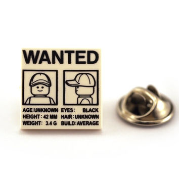 WANTED escaped figure, Tie Pin, Tie Tack Pin, Men's Tie Tacks, Tie Tac, Silver Tie Clip, Tie Clips Men, Wedding Clip, Tie Tack
