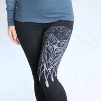 Crystal Wolf Yoga Leggings - Zodiac Constellations connected to the third eye - White print on American Apparel Sacred Geometry Leggings.