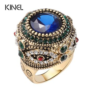 Kinel Fashion Gold Antique Ring For Women Bohemian Blue Resin Inlay AAA Crystal Punk Charm King Ring Vintage Jewelry