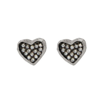 Silver Rhodium Plated Satin Finish Black Rhodium Inside Cz  Heart Shape Stud Earrings
