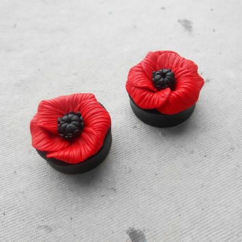 Poppies flowers plug,Ear piercing gauges,Real gauges,8,10,12,14,16,18,20,22,24,26,28,30mm;0g,00g;5/16,3/8,1/2,9/16,5/8,3/4,7/8,1 1/4