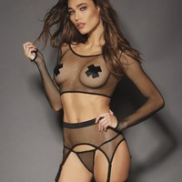 Fishnet Top And Garter Belt Set