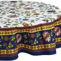 Mahogany Brittany Floral Tablecloth 70 Inch Round, Cream with Navy and Yellow Border, Printed Cotton