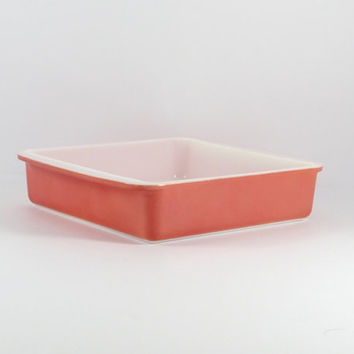 Vintage 1950s Flamingo Pink Pyrex 8 inch Brownie Baking Pan, 222