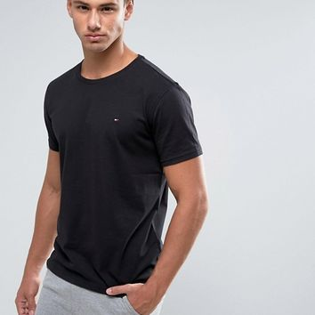 Tommy Hilfiger Flag Icon T-Shirt In Organic Cotton In Black at asos.com