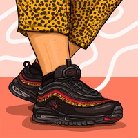 Nike Air Max 97 Leopard Stripes Red Sneakers