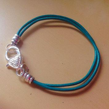 Teal Green/Teal Blue Awareness Heart Bracelet-Leather-Ovarian Cancer - Sexual Abuse - Stress Disorder- Anxiety Disorder - Polycystic Ovarian