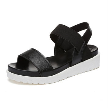 women female sandal summer of 2017 muffin platform waterproof Taiwan fish mouth slope with Rome women's flat sandals shoes s1