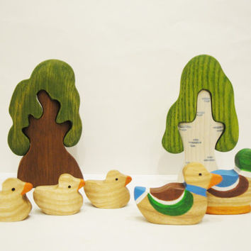 Toys set Ducks (5pcs) Learning toy Farm toys Wooden toy Waldorf nature table Miniature animal figurines Handmade Toddler toy Waldorf Toy