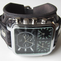 Black Leather Watch Cuff Men's Wrist Watch Bracelet Watch, Mens Gift