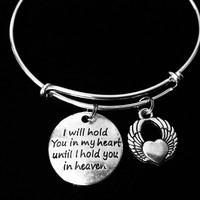 I Hold You in My Heart Until I Can Hold You in Heaven Memorial Jewelry Silver Expandable Charm Bracelet Adjustable Bangle One Size Fits All Gift Bereavement