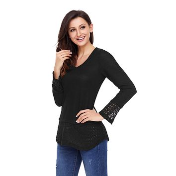 Black Lace Sleeve and Hem Thermal Knit Sweater
