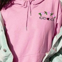 GUCCI X Champion Women Men Fashion Casual Flower Rose Embroidered Sweater Grey Hoodie Pullover Pink G