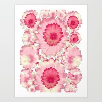 Flowery Pink and White Art Print by Jennifer Warmuth Art And Design