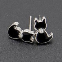 Sterling Silver Black Enameled Cat Earrings