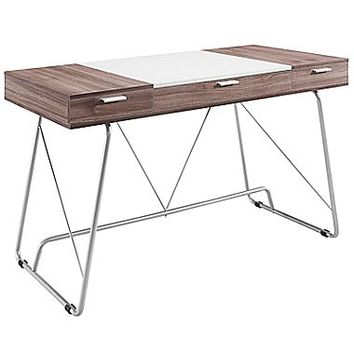 Modway EEI-1321-BIR Contemporary Metal/Melamine/MDF Writing Desk, Birch
