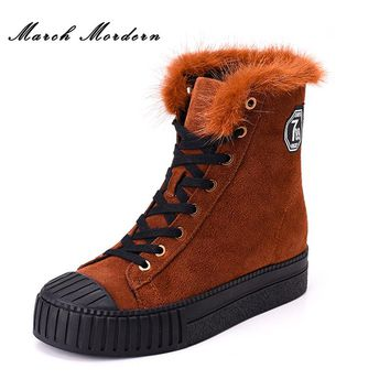 March Mordern Women Genuine Leather Boots Winter Women Ankle Boots New Fashion Women Snow Boots for Girls Ladies Work Shoes