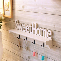 "1Pcs ""Sweet Home"" Shelves Hat Key Holders Storage Shelf hanging hooks Wall Mounted Rack Home Holder Storage Hanger Decoration"
