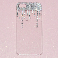 iPhone 5 Decoden Phone Case Crystal Icing/ Dripping/Falling Crystals, Rhinestones, Kawaii Ready To Ship
