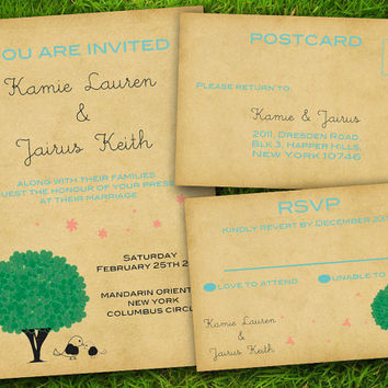 DIY Printable - Vintage Cute Shabby Chic Green Tree Customizable Wedding Invitation and RSVP Card Suite