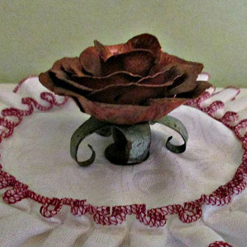 SALE! Antique Rustic Rose Candle Holder, metal Rose Candlestick, Vintage Copper and Brass, Taper, Table decor, Home Decor
