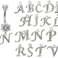 dangle belly button rings initial N © GlitZ JewelZ - laser cut CZ crystals - surgical steel 316L - bar length 3/8 inch (10mm) - many alphabets available - gently packed in a lovely velvet pouch