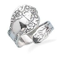 .925 Sterling Silver Floral Spoon Ring. Adjustable Size