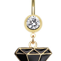 Golden Colored Diamond Shaped Belly Button Ring