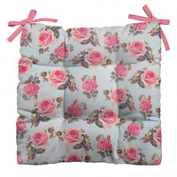 Allyson Johnson Pink Roses Outdoor Seat Cushion