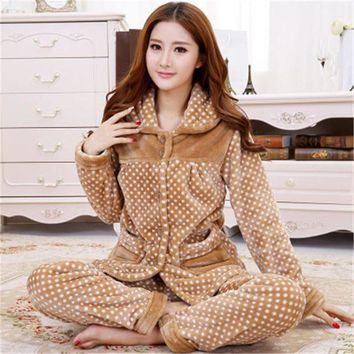 VONG2W 2017 New winter women and men flannel pajamas set long sleeve long trousers coral fleece warm pyjamas couple home clothing