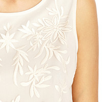 Embroidered Floral Woven Tank