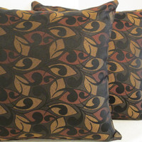 "Pillow Covers 18"" Set of Two Black, Rust, & Gold Abstract Print."
