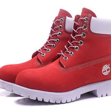 PEAPON Timberland Rhubarb Boots 10061 White Red Waterproof Martin Boots
