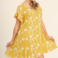 Floral Print Short Sleeve Dress - Honey