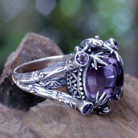 Gold accent amethyst cocktail ring, 'Tropical Frogs'