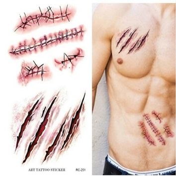 1pc Halloween Zombie Scar Tattoos Fake Scars Bloody Costume Makeup Halloween Party Decoration Wound Scary Blood Injury Sticker