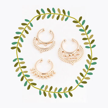 Tribal Faux Nose Ring Set, Gold Fake Septum Piercing
