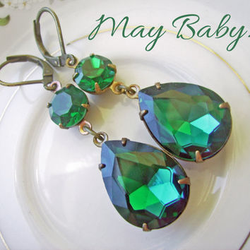 Emerald Crystal Earrings, Vintage Estate Style Earrings, Pear teardrop, bridesmaids wedding jewelry, Old hollywood, birthstone - May Baby